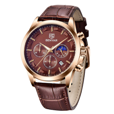 BENYAR Quartz Waterproof Luminous Leather Trendy Men's Watches