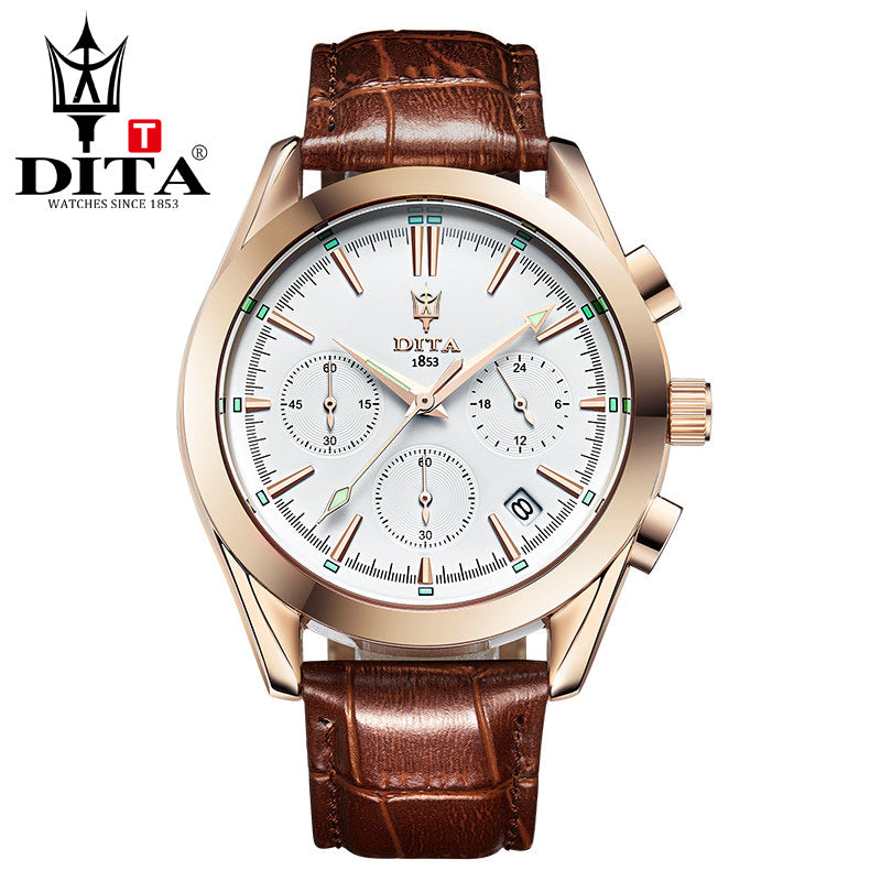 Dita Genuine Leather Quartz Three-eye Six-hand Men's Watches