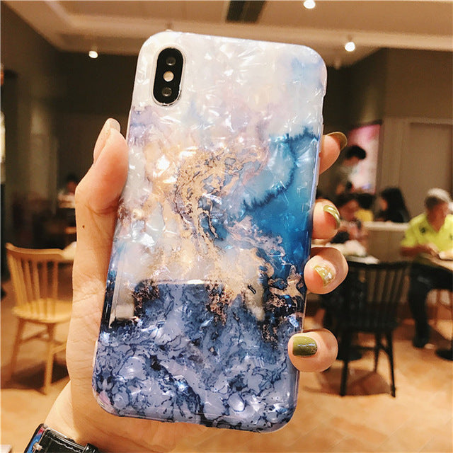 INSNIC Glossy Waterproof Marble iPhone Case