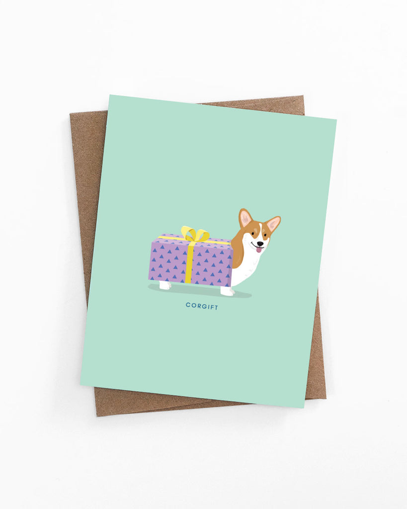 Birthday, anniversary or holiday greeting card of a corgi in a gift box by LaCorgi