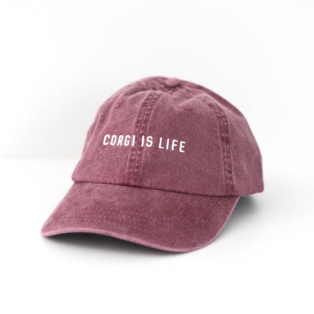 Corgi is Life burgundy dad hat baseball cap