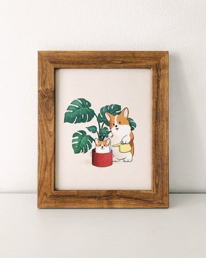 houseplant corgi art illustration print monstera