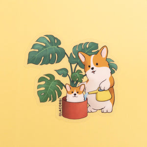 houseplant corgis clear vinyl sticker monstera