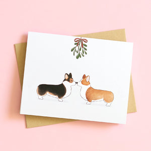 mistletoe corgis holiday greeting card christmas