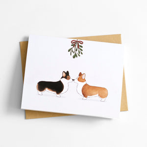 mistletoe corgis holiday christmas greeting card