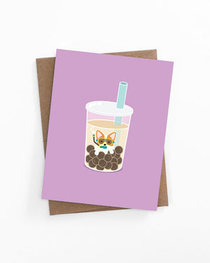 Greeting card of a corgi in boba milk tea by LaCorgi