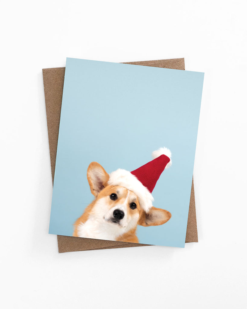 Holiday greeting card of a corgi wearing a santa hat by LaCorgi.
