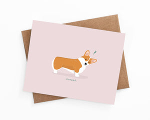 Illustrated greeting card of a confused corgi by LaCorgi.