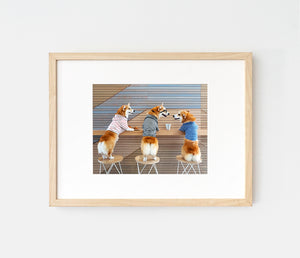 Print of corgis having coffee at a cafe by LaCorgi.