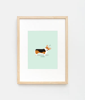 Illustrated print of a confused tricolor corgi by LaCorgi.