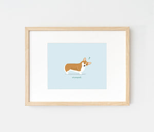 Art print of a red Pembroke Welsh Corgi by LaCorgi.