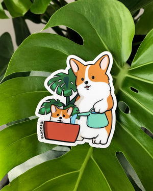 Houseplant Corgi Sticker