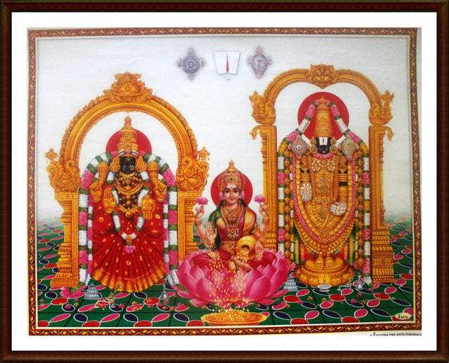 Lord Balaji and  Thayar with Sri Lakshmi - Frame