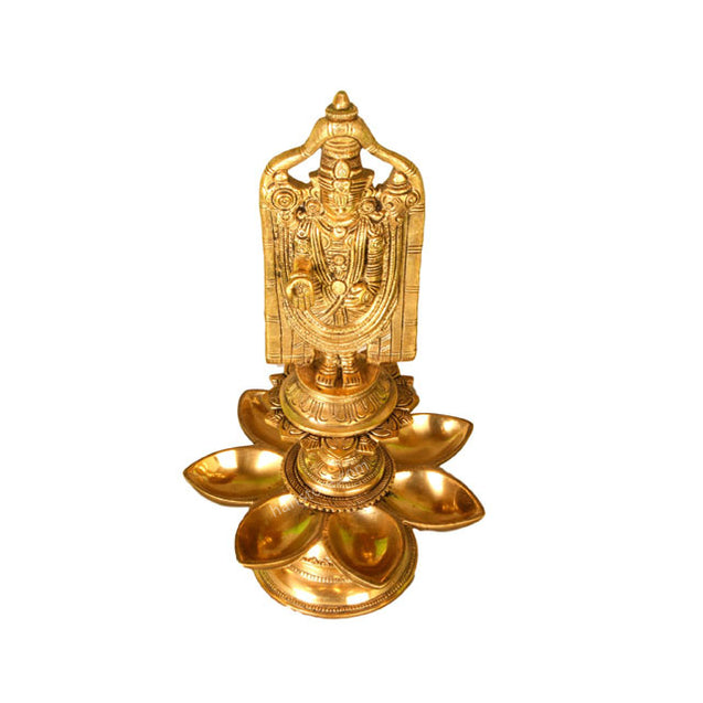 Brass - Lord Venkateshwara with Vilakku / Lamp In Flower Shape