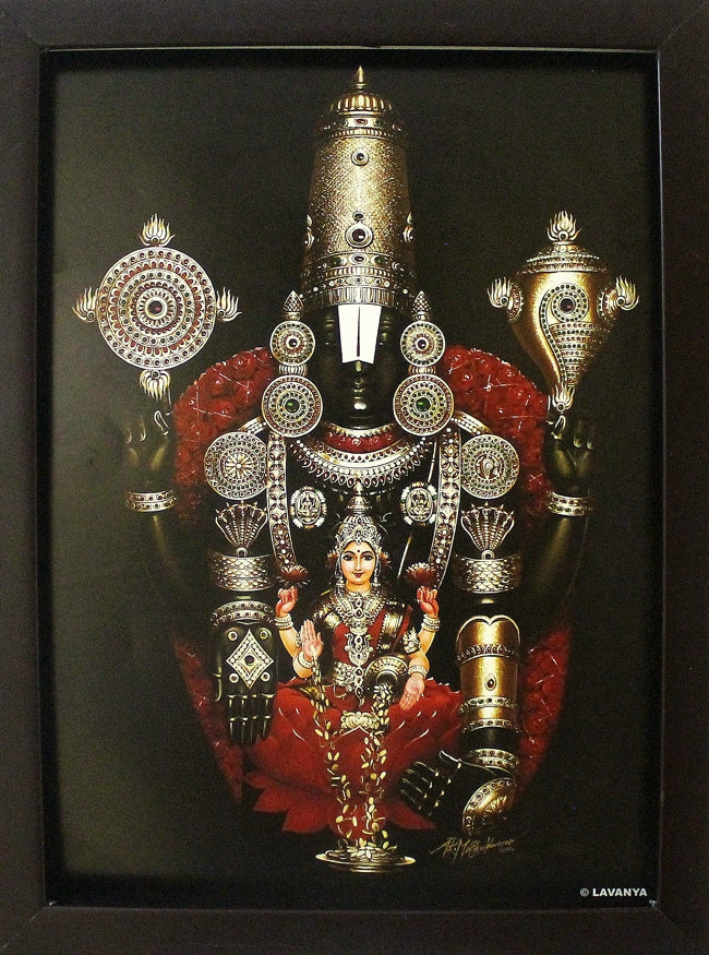 Lord Balaji with Sangu Chakra and Sri Lakshmi - Frame