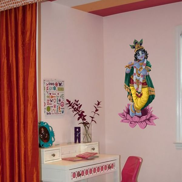 Krishna on Lotus Painted - Wall Design