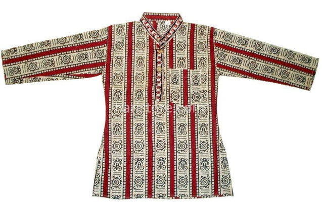 Kurta Pyjama Red and Ivory