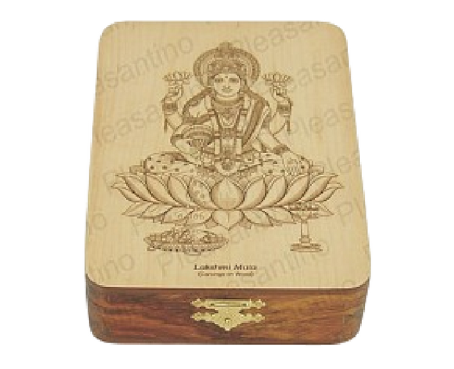 Wooden Box With Goddess Mahalakshmi Art