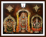 Lord Balaji with Sangu Chakra , Thayar and Sri Lakshmi - Frame