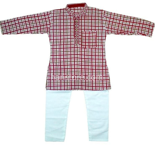 Kurta Pyjama Red and White