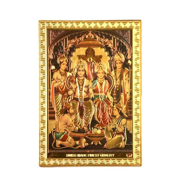 Gold foil magnet stand with Ram darbar
