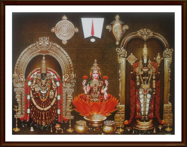 Lord Balaji with Thayar and Sri Lakshmi - Frame