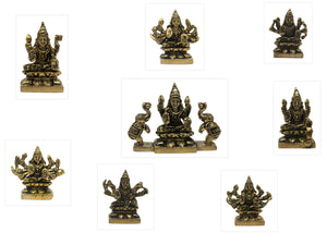 AshtaLakshmi Brass Mini Set - 2.2 Inches (For pooja and gifting purpose)