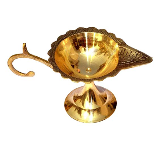 Brass lamp with curved shaped handle for grip( 2 inch )