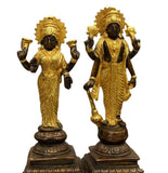 Vishnu Perumal and Thayar Standing - 24K Gold Plated- 8 inch
