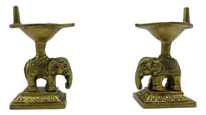 Elephant Brass Lamp - Yaani Vilakku - Kartigai Deepam (Pack of 2)