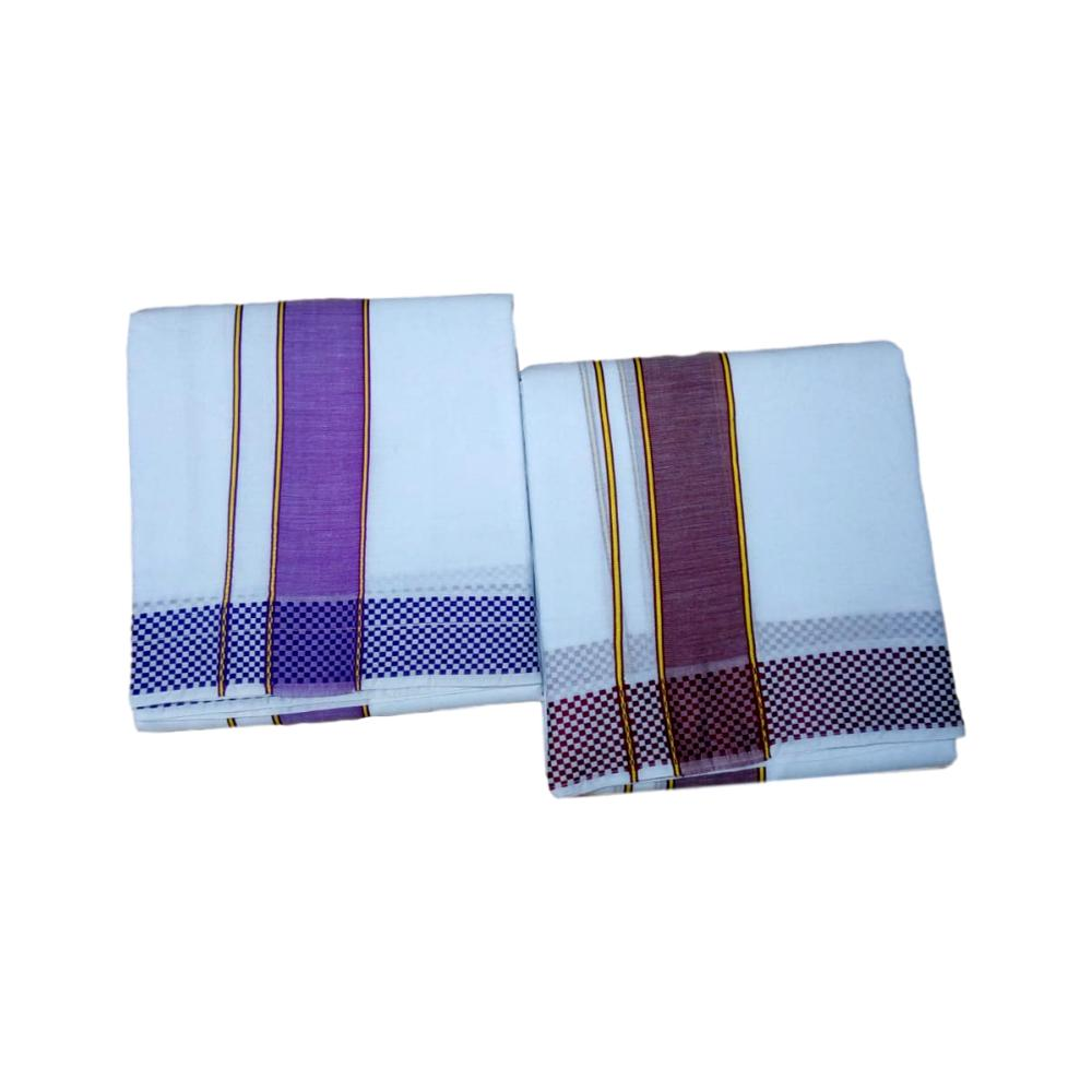 Pure Cotton Panchakacham Veshti - Checked Stripe