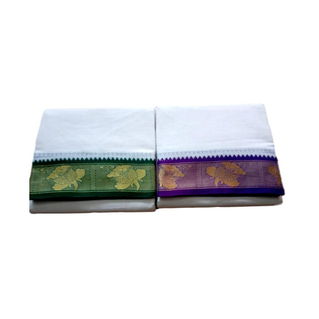 Rose Design Jarikai - Panchakacham Veshti - Pure Cotton