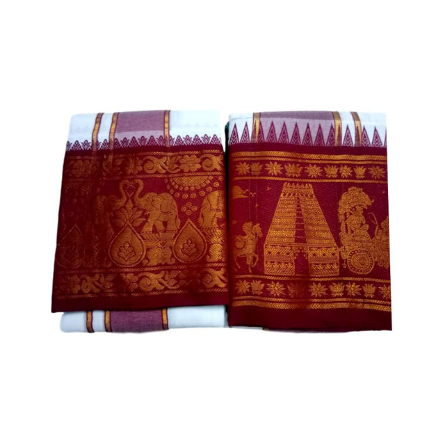 12inch Gopuram Design- Cotton Veshti
