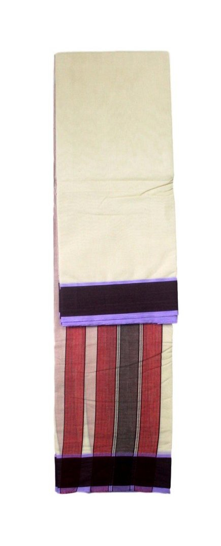 Haristore Pure Cotton Brown Border Panchakacham Veshti / Dhoti