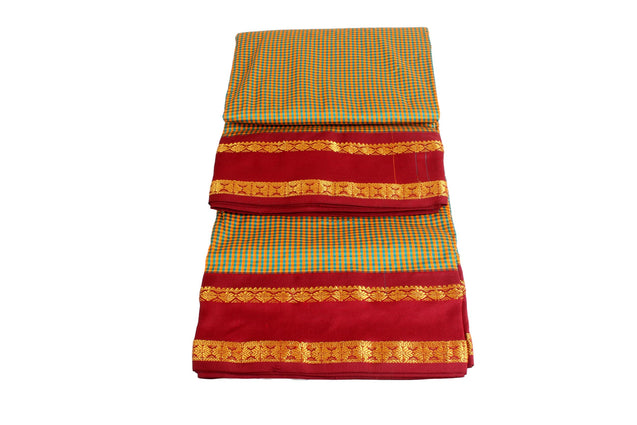 High quality small checked silk cotton madisar saree