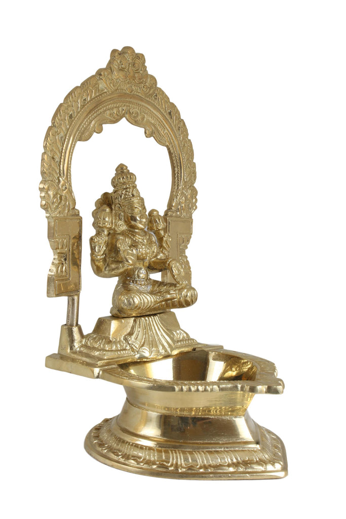 Haristore Akshaya Lakshmi Lamp / Golden Color / With Lakshhmi Deity