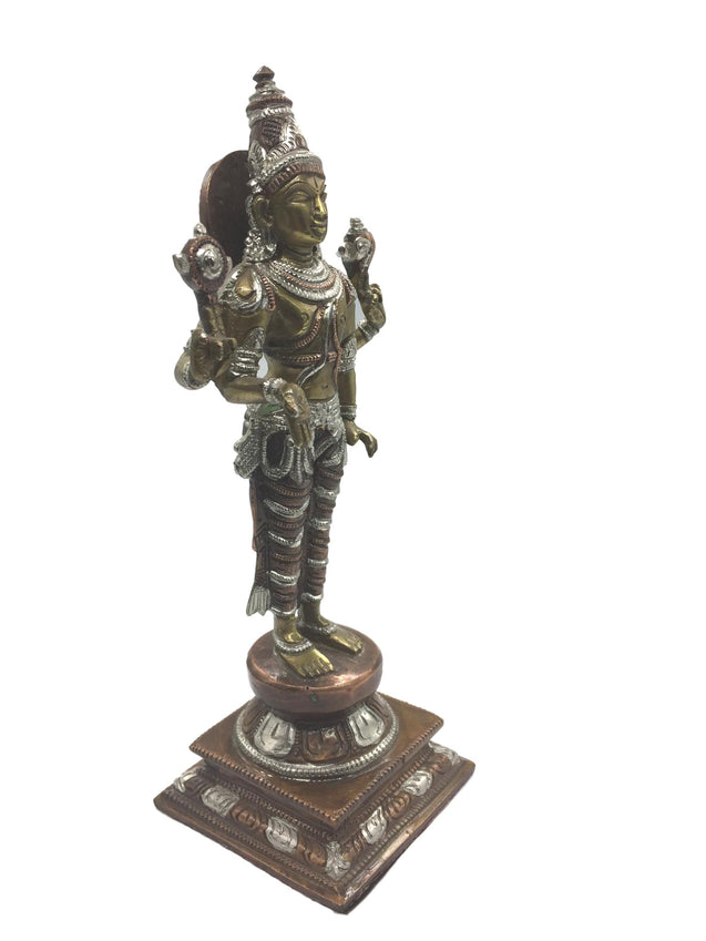 Brass Perumal Vigraham with Silver Lining! Rare Collection Series