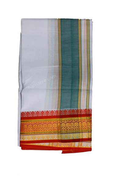Blue and Orange 4 Inch Zarri Fancy Pettu Panchakacham