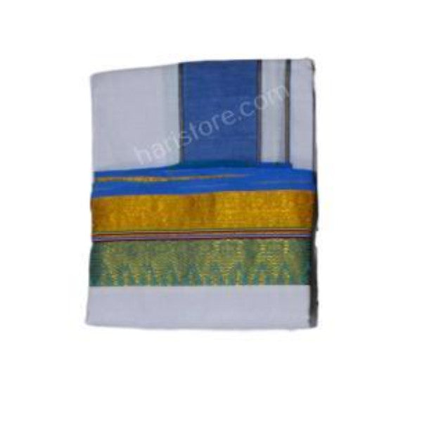 Blue and Green With Yellow 4 Inch Zarri Fancy Pettu Panchakacham
