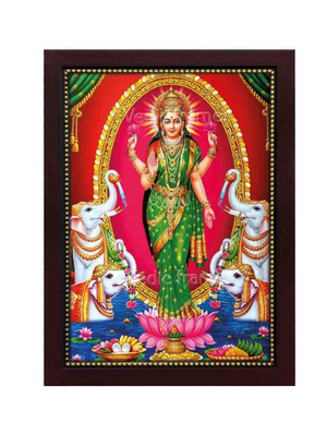 Goddess Lakshmi standing in arch with elephants / Red background Photo frame
