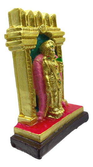 Sri Andal With Tulasai Maatam Backdrop / 4.5 inches / Gypsum / Excellent Art Work