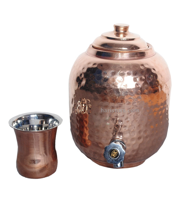 Copper Water Container (Hammered & Premium Quantity) - Small