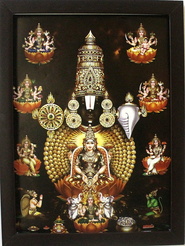 Lord Venkateswara with Ashtalakshmi, Garudar and Hanuman  - Frame