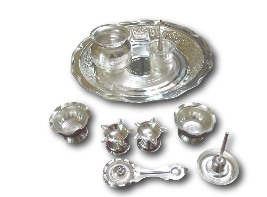 Pooja Set (German Silver)