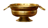 Brass bowl with base / showpiece item with flower decoration (variant in size )