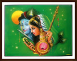 Sri Krishna with Flute and Radha with Tamboura - Frame