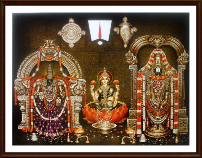 Lord Venkatachalapathy and Thayar with Sri Lakshmi - Frame