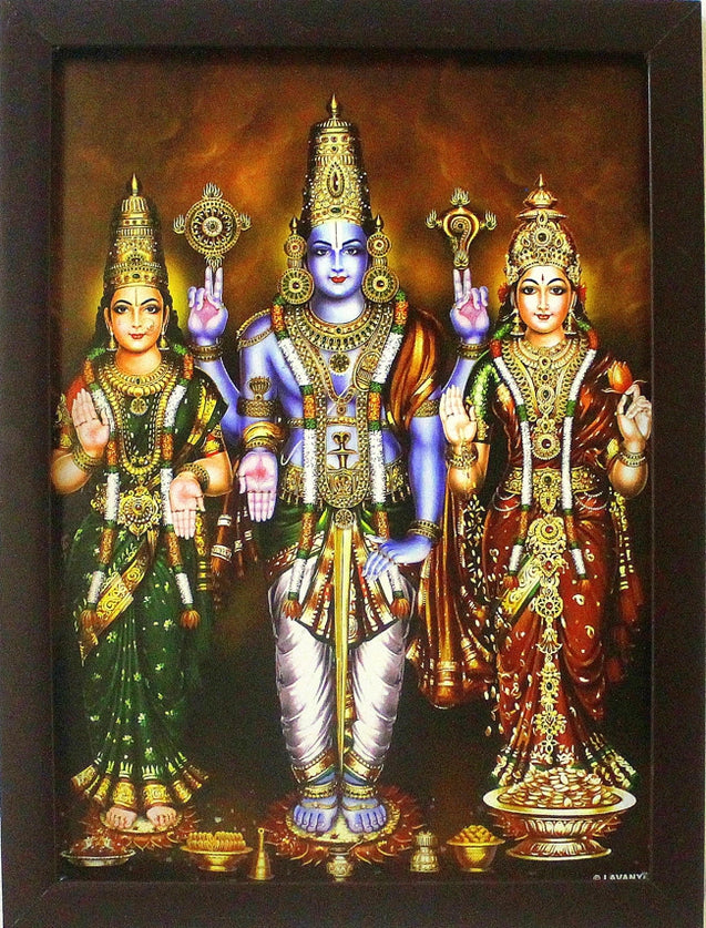 Lord Vishnu with Sridevi and Bhudevi - Frame