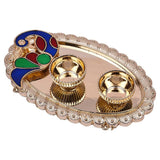 Decorative peacock kumkum Plate Oval shape