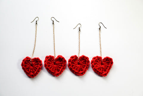 Crochet Heart Dangle Earrings